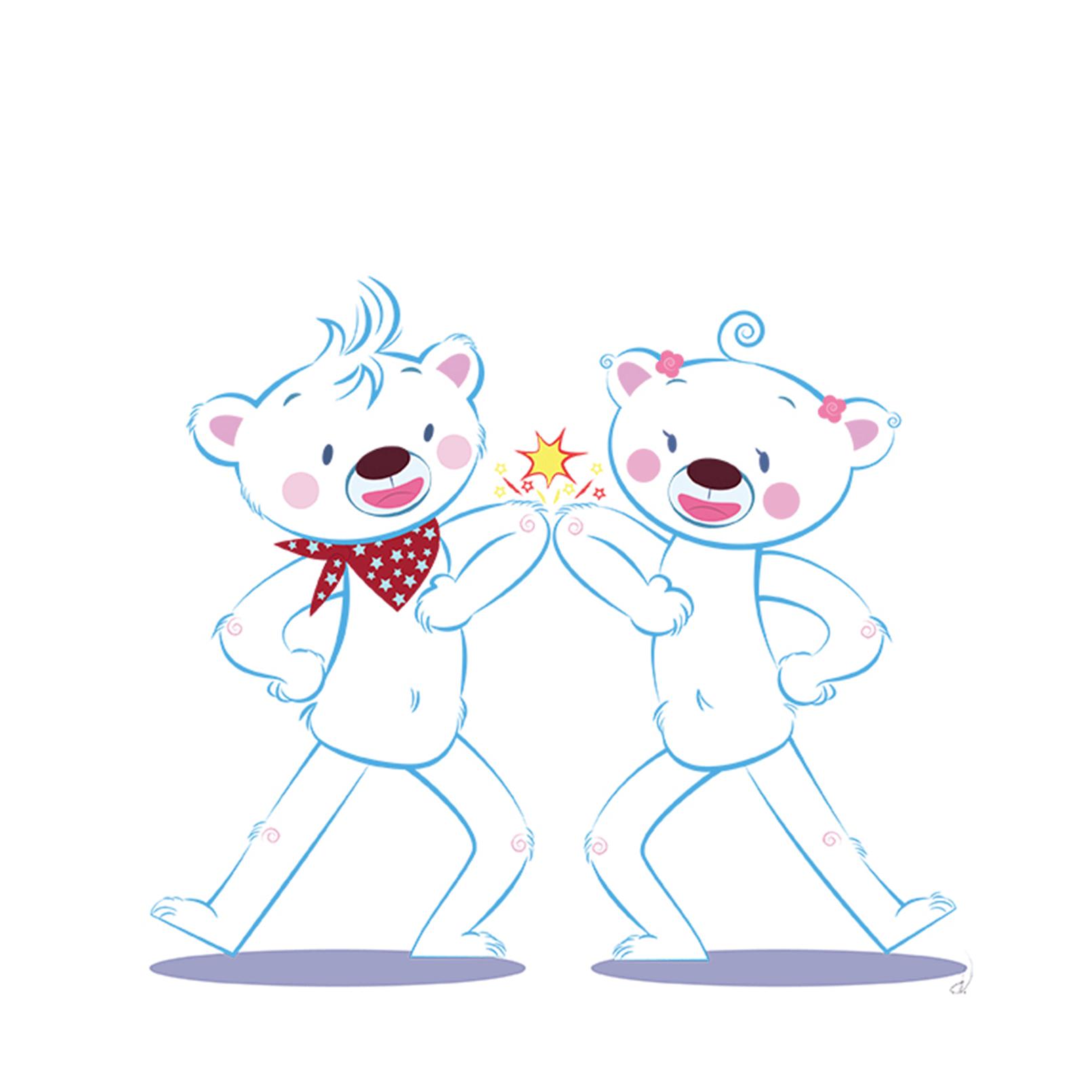 Comic-Selbstportraits, Eisbären-Illustrationen für Grundschulklasse. // Digital //